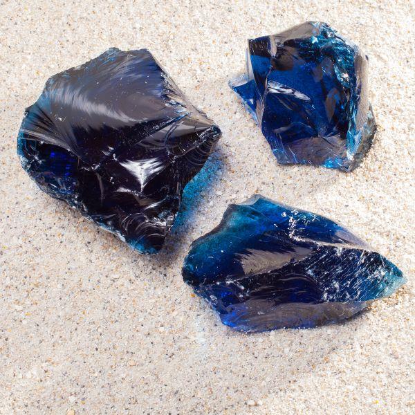 Glasbrocken dunkelblau - 80-120mm