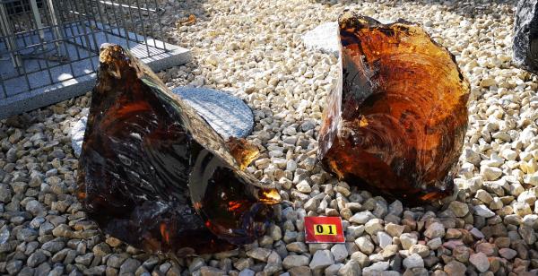 Glasbrocken bernstein groß, 2x, ca.17kg, Abmessungen:150-300mm GPB01